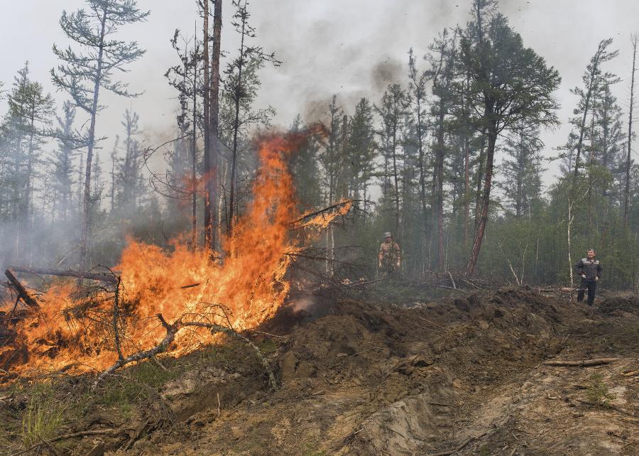 Lesné požiare v Jakutsku.