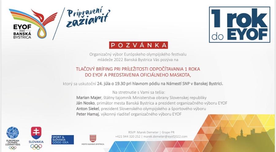 Pozvánka: Banská Bystrica spustí odpočet olympijského festivalu mládeže a predstaví maskota!
