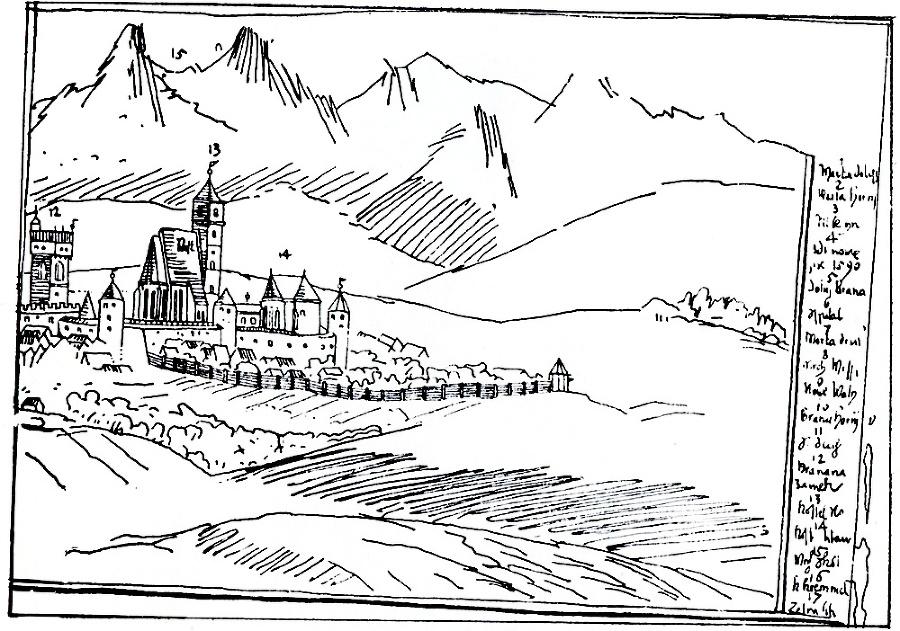 16. storočie - Historickú a aktuálnu podobizeň spája pohľad na mestský hrad.