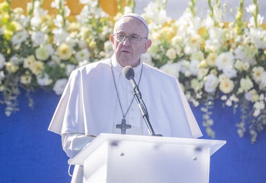 Pápež František počas príhovoru