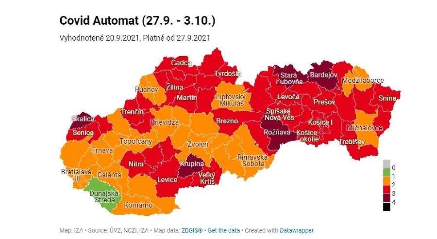 Rozdelenie okresov v rámci COVID automatu od 27. 9.