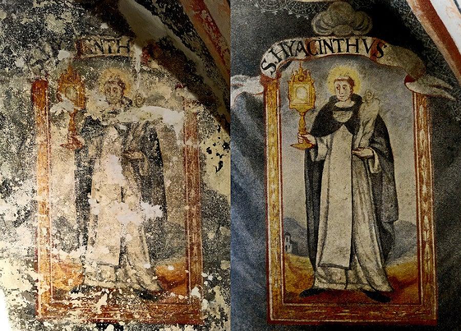 Sv. Hyacintus pred reštauráciou a po nej.