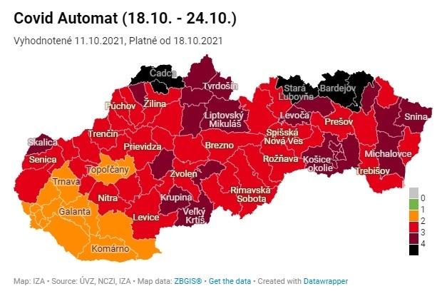 Covidová mapa sa od pondelka 18.10. zmení.