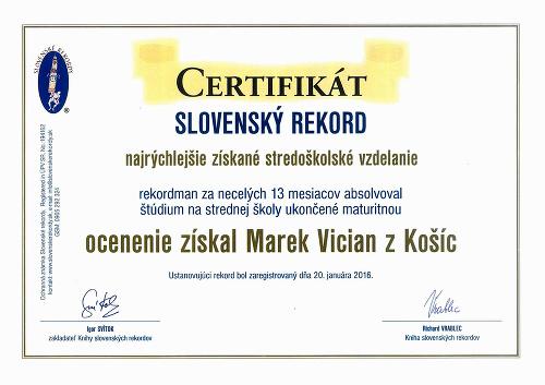 Certifikát z Knihy slovenských