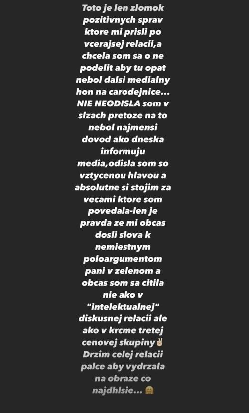 Dominika na Instagrame vysvetlila,